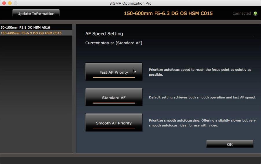 Os ajustes de velocidade de foco automático, disponível apenas as objetivas com a chave Custom: speed, standard e smooth.