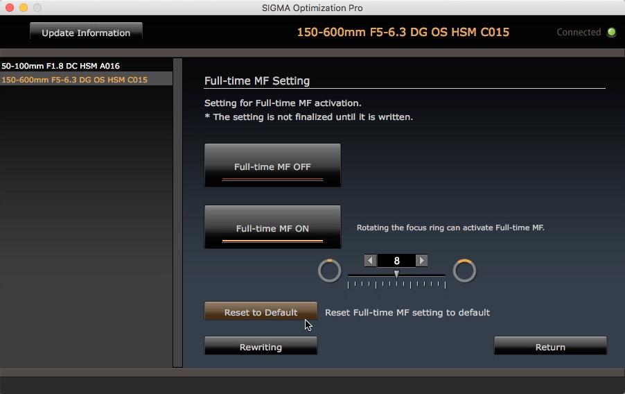 """""""Full-time MF"""": use o gire do anel para desabilitar totalmente o motor de foco, mesmo com o botão apertado na câmera."""