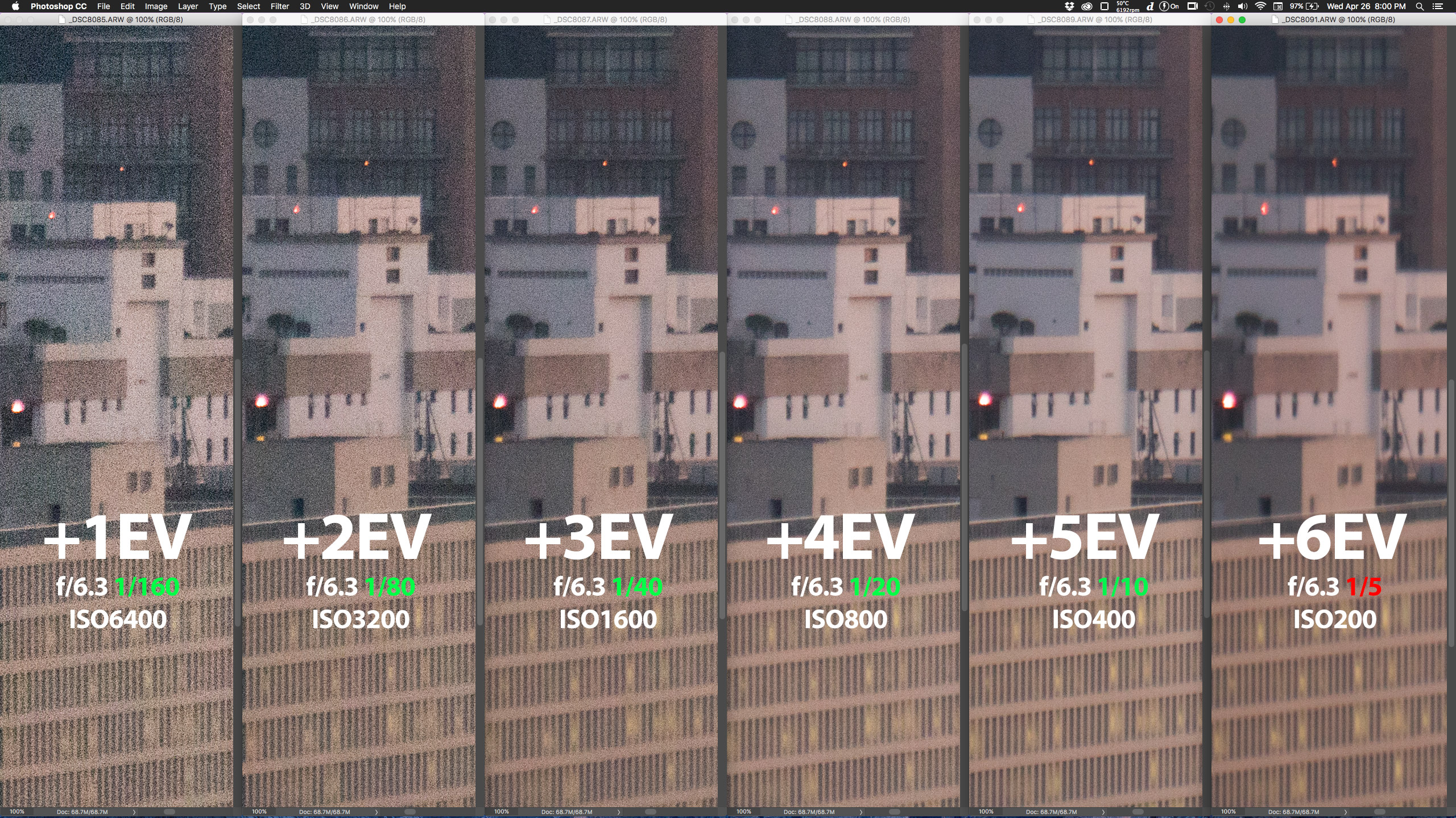"""100% crop, note como até 1/10 (+5EV) o estabilizador da SEL55210 """"segura"""" a composição; clique para ver maior."""