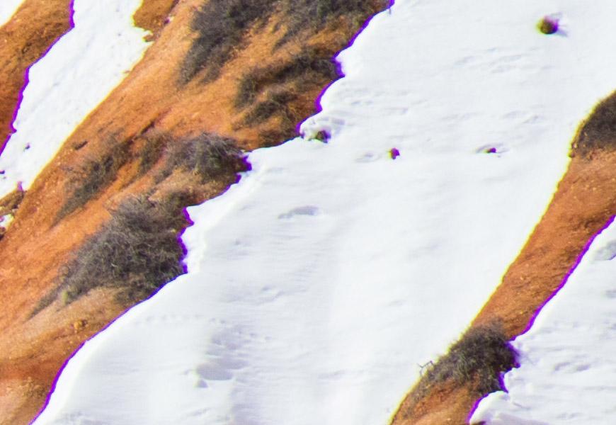 100% crop, aberrações cromáticas grosseiras nas bordas do quadro.