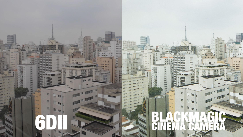 Canon EOS 6D Mark II vs. Blackmagic Cinema Camera, ambas em 1080p; note a falta de clareza nos detalhes da Canon (clique para ver maior).
